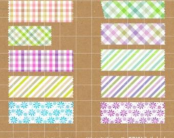 Digital Washi Tape, Washi Tape Clipart Scrapbook, Instant Download, PNG, Stripes Floral Washi Tape Digital Paper- CL01