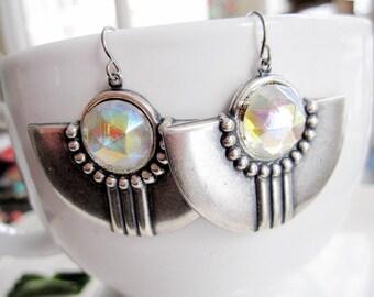 Silver Art Deco Earrings, Silver Shield Dangle, Trendy, Silver Earrings, Bohemian, Modern Style, Art Deco Statement, Redpeonycreations