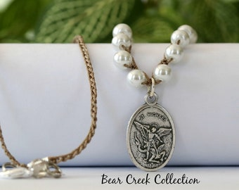 St Micheal Necklace, Guardian Angel, White, Catholic, Prayer Necklace, Angel Necklace, Spiritual, 2 Sided Pewter Pendant, Crochet Jewelry