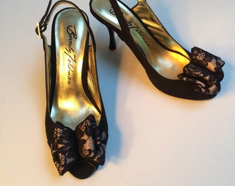 Beverly Feldman Evening Shoes, Slingback Open Toe Shoes, Kitten Heels, Black Evening Shoes With Lace Bow