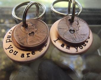 Couple set of keychain, Anniversary gift, Wedding gift, Partners gift, Couples gift, 7th Anniversary gift