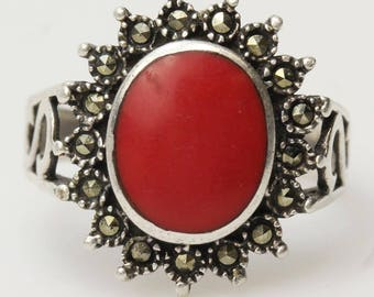 Sterling Silver Red Stone and Marcasite Ring