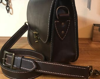 Hand stitched leather purse