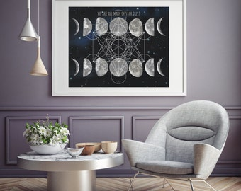 We All Made Of Stardust Print Metatrons Cube Sacred Geometry Moon Phases Modern Wall Art Black