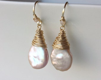 Pink Keshi Pearl Earrings, Pale Pink Pearl Drops, Peach Moonstone Dangle, June Birthstone Earrings