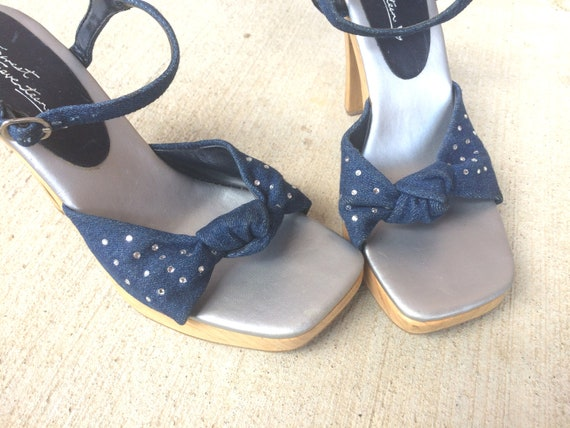 Britney rhinestone SANDALS toe kid peep strappy Lucite 90s chunky shoes denim raver 8 Heels pumps WOOD stilettos PLATFORM club vtg 1zTqwq