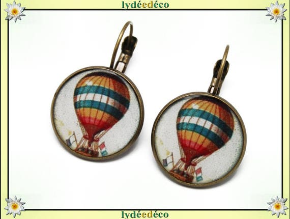 Earrings retro pattern orange white blue hot air balloon dream resin and brass bronze 2cm
