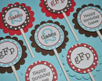 12 Boys Birthday Cupcake Toppers - Red, Brown and Blue, Polkadots - Personalized Birthday Decorations