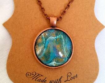 Handmade Copper Colored Acrylic Pendant Necklace