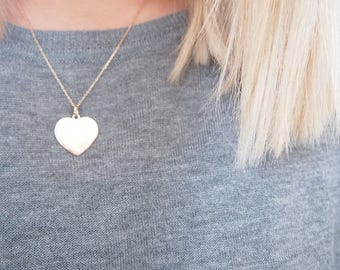 Heart pendant necklace gold 750 - love gold plated necklace