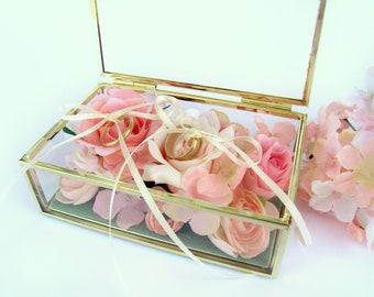 Floral Wedding Ring Box, Ring Bearer Pillows, Wedding Ring Holder, Ring Dish, Blush Pink Roses, Wedding Ring Box, Glass Ring Bearer Box