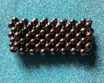 Wide woven Hematite bead Bracelet