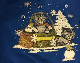CATS ugly Christmas sweater sweatshirt - blue, adult size XL