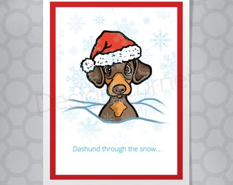 Dashund Funny Illustrated Christmas Card