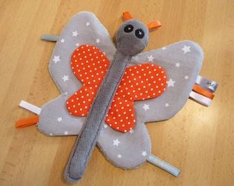Orange flat grey Butterfly blanket