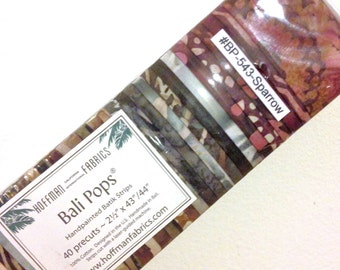 Bali Pops SPARROW Fabric Strips Jelly Roll Hoffman Fabric