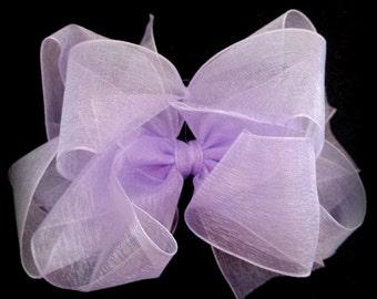 Organza  Hair Bow....Easter Hair Bow....Spring Hair Bow....Pink Organza Bow...Lavender Organza Bow...Pastel Organza Bow