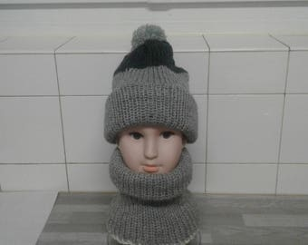 Gray collar snood set for children 8 months to 2 years with gray-girl-boy Hat
