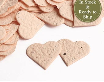 Soft Peach Plantable Seed Paper Confetti Hearts - READY-TO-SHIP - Wedding Favors, Bridal Shower Favors, Baby Shower Favors, Valentines
