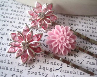 Pink Bobby Pins, Glam Hair Pins, Rhinestone Hair Accessory, Bling, Fancy Bobbies, Small Gift, Stocking Stuffer, Gifts for Women