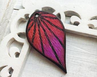 Summer Pink Orange Squiggle Autumn Leaf Scrimshaw-Woodburned Hand-dyed/painted JLynnJewels ART Tile© Pendant