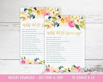 What Did the Groom Say - Bridal Shower Game - Watercolor, Coral, Navy, Gold // Digital // INSTANT DOWNLOAD //