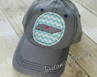 Nashville Tennessee Grey Distressed Embroidered Trucker Hat
