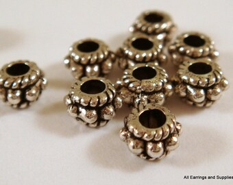 50 Antique Silver Bead Large Hole Donut Tibetan Style LF/CF/NF 5x3mm 2mm hole - 50 pc - M7042-AS50