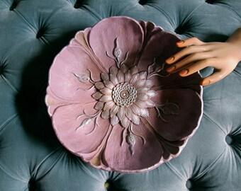Annie Sloan bowl, painted plastic bowl, shabby chateau bowl, parisian decor, centerpiece bowl, repurposed bowl, chalp paint bowl