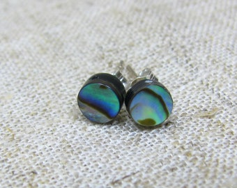 Abalone Stud Earrings, Paua Studs Sterling Silver, Abalone Earrings 925 Sterling Silver, Abalone Shell Earrings, Paua 6mm Post Earrings,