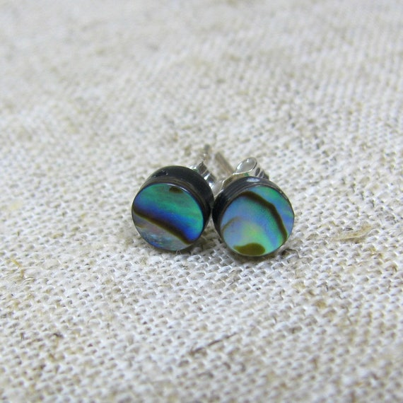 Abalone Paua Shell & 925 Sterling Silver Square Studs Earrings A0mo8P