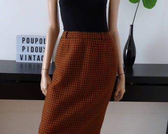 Skirt CAROLINE ROHMER green/red/black vintage size 36 - uk 8 - us 4