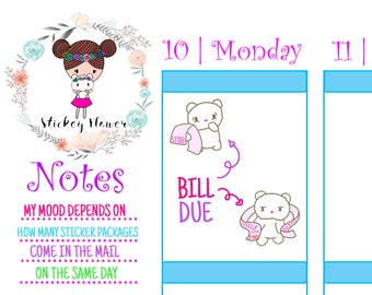 Blossom Bear -Pay Bills, Cute Stickers for Personal planners, Erin Condren Life Planner, Happy Planner or Scrapbooking