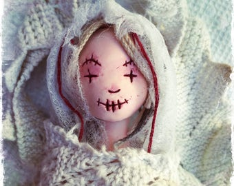 Bride of Frankenstein Voodoo Doll, Art Doll. OOAK