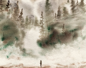 Alone With My Thoughts WATERCOLOR painting