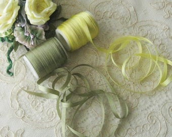 """5 Yds. China Silk Ribbon 4mm (1/8"""") -  Crafts, Sewing, Dolls, Teddy Bears, Crazy Quilt, Ribbon Flowers, Embroidery, Miniatures"""