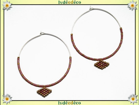 925 sterling silver hoop earrings round beadwork Japanese pink coral gold diameter 40mm gift birthday mother's day