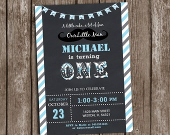 Little Man Mustache Invitation Birthday Printable Chalkboard , Any age, wording custmization, personalized