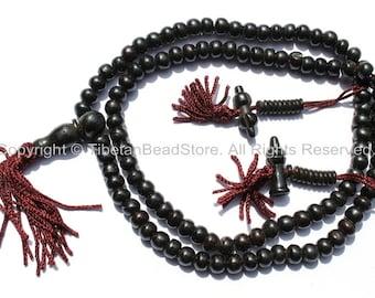 108 beads - Tibetan Black Bone Mala Prayer Beads with Bone Bell & Vajra Counters - 8mm Tibetan Mala Beads - Mala Making Supplies - PB79