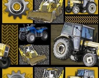 Machinery Patchwork Yellow COTTON - Construction Machines 100% cotton fabric (DA72)