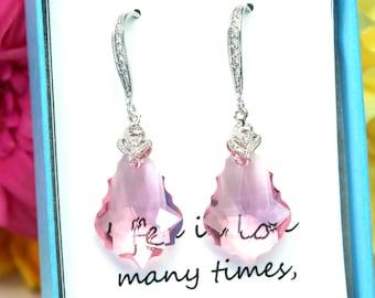 Pink Earrings Pastel Pink Earrings Crystal Earring Drop Earrings Swarovski Baroque Silver Earrings Bridesmaid Gift Wedding Earrings LR30H