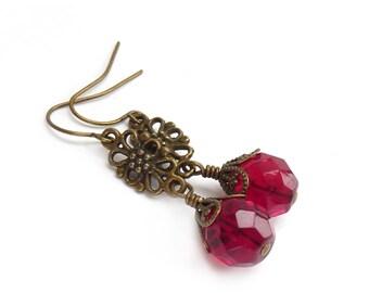 Red Boho Earrings - Fire Polished Czech Glass - Bronze Filigree - Bohemian Hippie Dangle Earrings