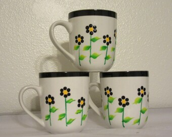 Cups Mugs Coffee Hand Painted Unique One of a Kind White With Black Dot Daisies Set of 2 Unique Gift Idea BUY 2 Get 1 FREE  Drinkware