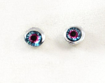 6mm Blue and Pink Doll Eye Glass Cabochons - Tiny Glass Eyes for Doll or Jewelry Making - Set of 2