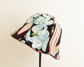 Baby sun hat hawaiian print, baby boy sun hat, surf print sun hat, summer hat - made to order