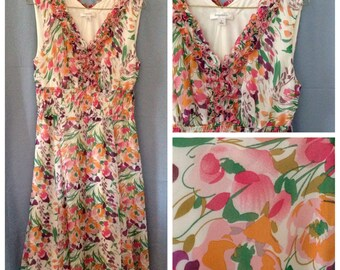 Vintage 1980s or 1990s Gorgeous sleeveless floral maxi dress, Dressbarn brand, watercolor dress, size 8