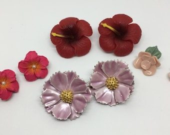 Fun Lot Of Floral/Flower Earrings- Lot Of Earrings- Four Pairs- One Stick & Three Clip-On Earrings- Vintage Earring Lot