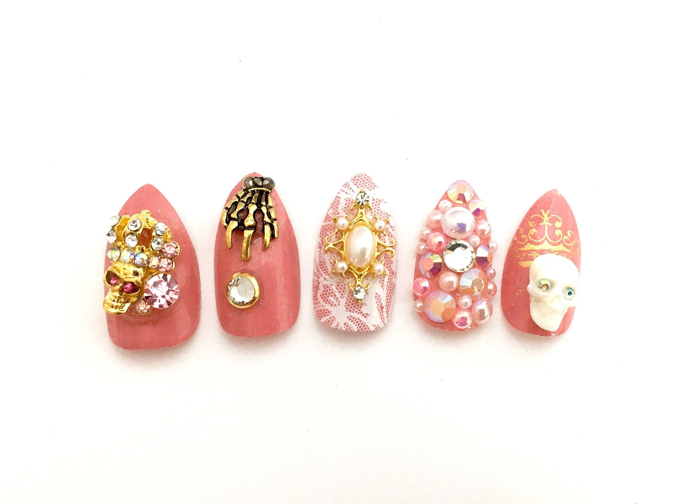Pink Pastel Goth Fake Nails | Scary Cute Nails | Japanese 3D Nail ...