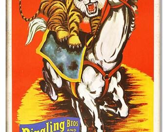 RG8364 Reproduction Barnum Bailey Tiger Horse Circus Sign 12x18