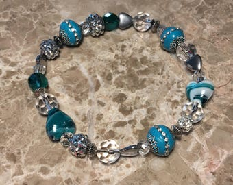 """11"""" turquoise and white GlamPaws pet necklace"""